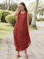 Women Tribal Printed Sleeveless Holiday Dresses
