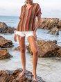 Orange Shift Cotton-Blend V Neck Casual Top