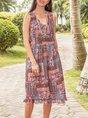 Multicolor Boho Midi Dress