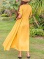 Women Linen Plain Gathered Maxi Dress