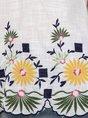 Women Boho V Neck Cotton Embroidery Top