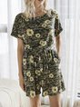 Green Casual Floral Printed Shift One-Pieces With Belt Romper