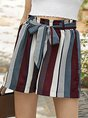 Burgundy Stripes Printed Casual Shift Short With Belt