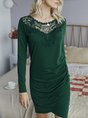 Paneled Lace Elegant Solid Mini  Dress