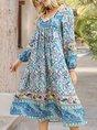 Blue Boho V Neck Long Sleeve Printed Midi Dress