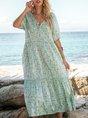 V Neck Lightgreen Swing Maxi Dress