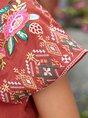Brick Red Shift Holiday Boho Embroidery Mini Dress