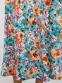 U-Neck Multicolor Shift Holiday Printed Floral Maxi Dress