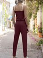 V Neck Solid Casual Shift One-Pieces Jumpsuit
