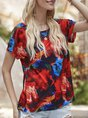 Red Short Sleeve Crew Neck Floral  Top