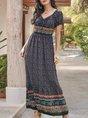 V Neck Black Boho Printed Maxi Dress