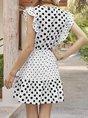 V Neck Holiday Polka Dots  Mini Dress