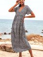 V Neck Blue Shift Daytime Maxi Dress