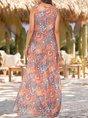 U-Neck Multicolor Shift Casual Linen Paisley Maxi Dress