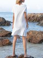 V Neck  A-Line Beach Mini Dress