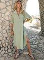 Shawl Collar Green Shift Slit Striped Maxi Dress
