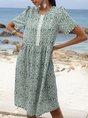 V Neck Green Shift Daytime Paneled Geometric Midi Dress