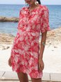 V Neck Rose Red Shift Date Floral Mini Dress