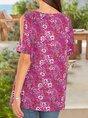 Women Knitted Boho Floral Cold Shoulder Top