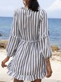 V Neck A-Line Daytime Striped Mini Dress