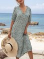 V Neck Swing Beach Floral  Midi Dress