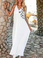 V Neck White Holiday Solid Maxi Dress