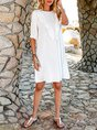 White Cotton Solid Casual A-Line Dresses