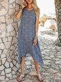 V Neck Blue A-Line Beach Boho Midi Dress