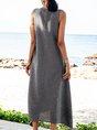 Blue Casual Swing V Neck Sleeveless Dresses
