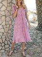 V Neck Orange Pink Casual Midi Dress