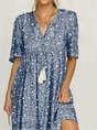 Blue Cotton Printed Short Sleeve Patchwork Dress