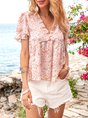 Flower Boho Floral V Neck Printed Top