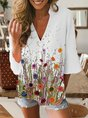 White Printed Cotton Half Sleeve Patchwork Top