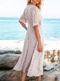 White Short Sleeve Floral-Print A-Line Crew Neck Maxi Dress