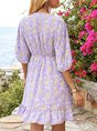 Purple Half Sleeve Gathered V Neck Floral Mini Dress