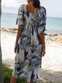 V Neck Blue Date Casual Midi Dress