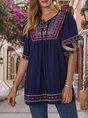 Royal Blue Cotton Ethnic Short Sleeve Shift Top