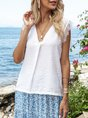 White Mesh Holiday V Neck Plain Top