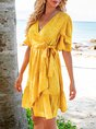 Pink-Yellow Geometric Ruffled Boho V Neck Mini Dress