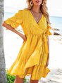 Pink-Yellow Geometric Ruffled Boho V Neck Mini Dress