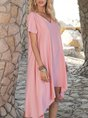 V Neck Orange Pink Casual Plain Midi Dress