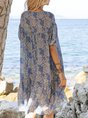 V Neck Off White  A-Line Beach Mini Dress