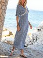 Blue Shift Floral V Neck Half Sleeve Maxi Dress