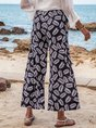 Black Casual Floral-Print Wide Leg Pant