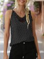 Spaghetti-Strap Holiday V Neck Shift Polka Dots Top