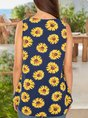 Women Printed Floral Holiday Crew Neck Tank Top