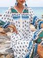 Deep Blue Boho V Neck Tribal 3/4 Sleeve Dresses