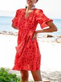 V Neck Orange Red  A-Line Beach Geometric Mini Dress