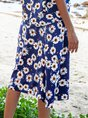 Navy Blue Floral Floral-Print A-Line Holiday Midi Skirt