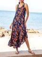 Light Orange Swing Daytime Paneled Maxi Dress